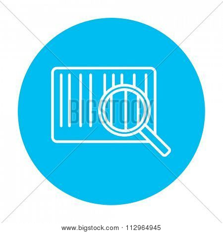 Magnifying glass and barcode line icon for web, mobile and infographics. Vector white icon on the light blue circle isolated on white background.