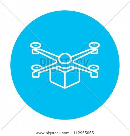Drone delivering a package line icon for web, mobile and infographics. Vector white icon on the light blue circle isolated on white background.