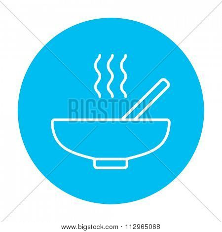 Bowl of hot soup with spoon line icon for web, mobile and infographics. Vector white icon on the light blue circle isolated on white background.