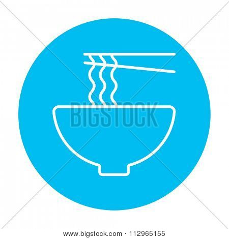 Bowl of noodles with a pair of chopsticks line icon for web, mobile and infographics. Vector white icon on the light blue circle isolated on white background.