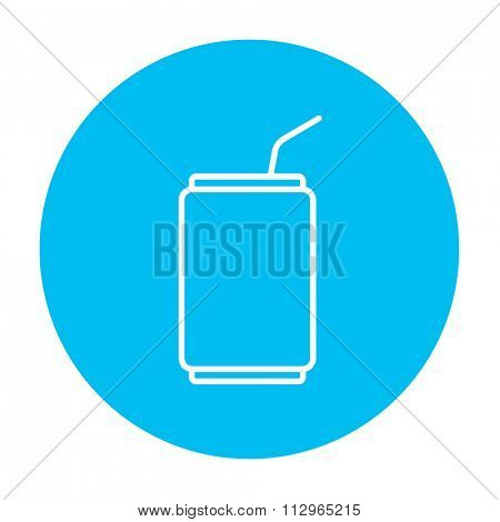 Soda can with drinking straw line icon for web, mobile and infographics. Vector white icon on the light blue circle isolated on white background.