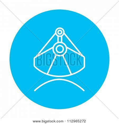 Mining industrial scoop line icon for web, mobile and infographics. Vector white icon on the light blue circle isolated on white background.