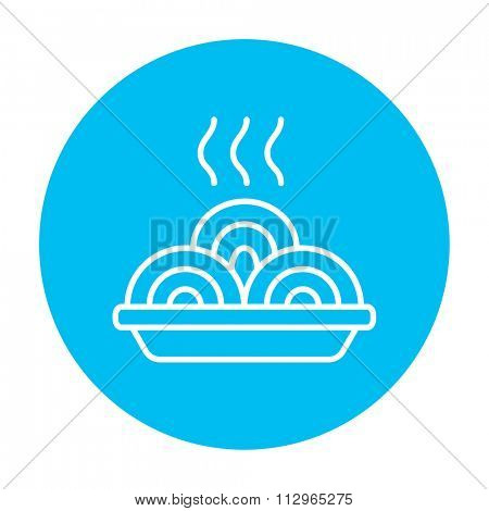Hot meal in plate line icon for web, mobile and infographics. Vector white icon on the light blue circle isolated on white background.