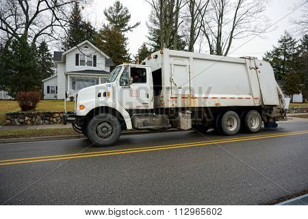 White Garbage Truck