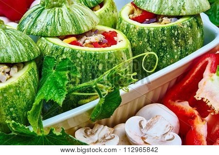 Raw Courgettes Stuffed With Meat