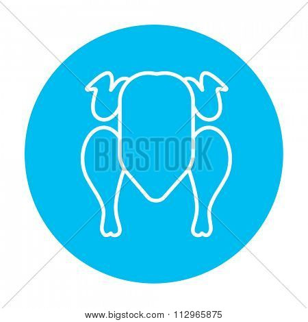 Raw chicken line icon for web, mobile and infographics. Vector white icon on the light blue circle isolated on white background.