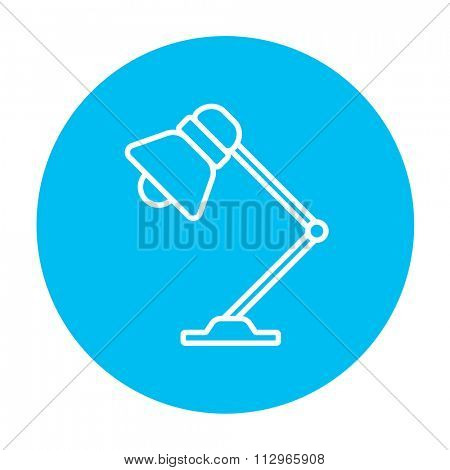 Table lamp line icon for web, mobile and infographics. Vector white icon on the light blue circle isolated on white background.