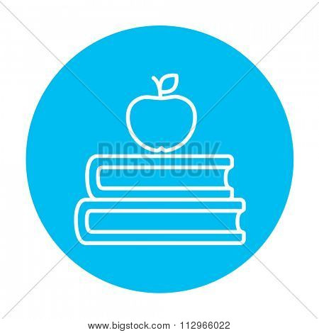 Books and apple on the top line icon for web, mobile and infographics. Vector white icon on the light blue circle isolated on white background.