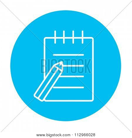 Writing pad and pen line icon for web, mobile and infographics. Vector white icon on the light blue circle isolated on white background.