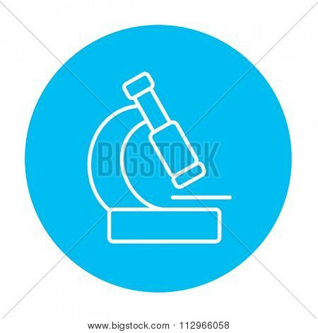 Microscope line icon for web, mobile and infographics. Vector white icon on the light blue circle isolated on white background.