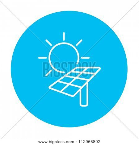 Sun with solar panel line icon for web, mobile and infographics. Vector white icon on the light blue circle isolated on white background.