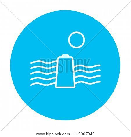 Sun and water waves with battery line icon for web, mobile and infographics. Vector white icon on the light blue circle isolated on white background.