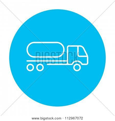 Fuel truck line icon for web, mobile and infographics. Vector white icon on the light blue circle isolated on white background.