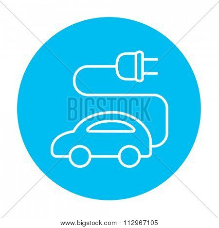 Electric car line icon for web, mobile and infographics. Vector white icon on the light blue circle isolated on white background.