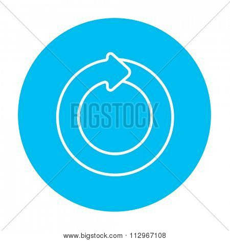 Circular arrow line icon for web, mobile and infographics. Vector white icon on the light blue circle isolated on white background.