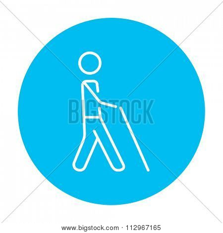 Blind walking man with a stick line icon for web, mobile and infographics. Vector white icon on the light blue circle isolated on white background.