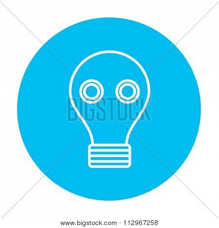 Gas mask line icon for web, mobile and infographics. Vector white icon on the light blue circle isolated on white background.
