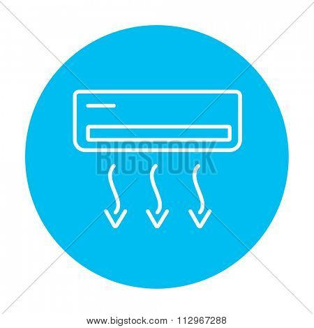 Air conditioner line icon for web, mobile and infographics. Vector white icon on the light blue circle isolated on white background.