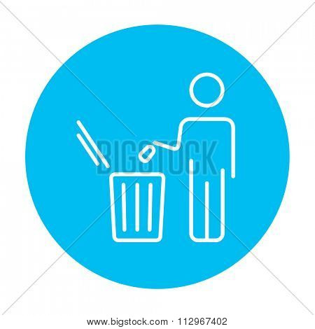 Man throwing garbage in a bin line icon for web, mobile and infographics. Vector white icon on the blue gradient square with rounded corners isolated on white background.