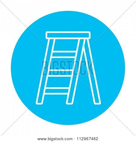 Stepladder line icon for web, mobile and infographics. Vector white icon on the light blue circle isolated on white background.