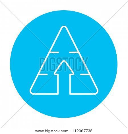 Pyramid with arrow up line icon for web, mobile and infographics. Vector white icon on the light blue circle isolated on white background.