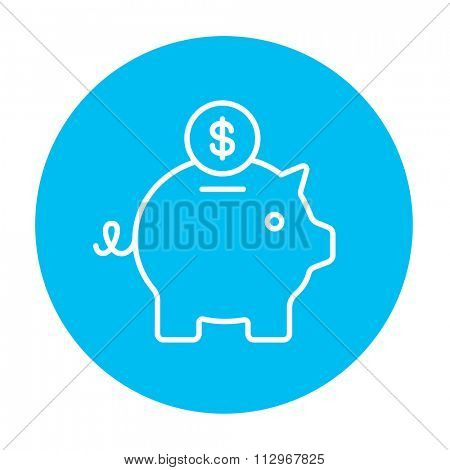 Piggy bank with dollar coin line icon for web, mobile and infographics. Vector white icon on the light blue circle isolated on white background.