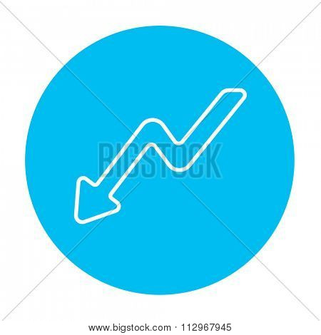 Arrow downward line icon for web, mobile and infographics. Vector white icon on the light blue circle isolated on white background.