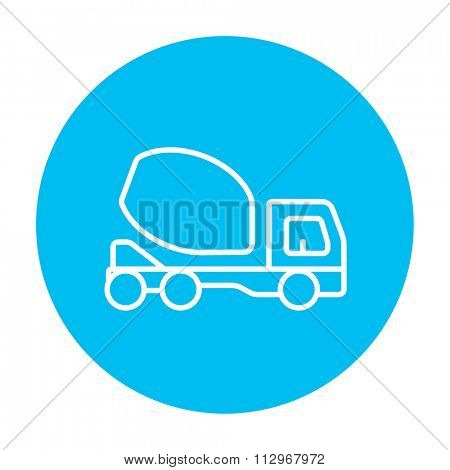 Concrete mixer truck line icon for web, mobile and infographics. Vector white icon on the light blue circle isolated on white background.