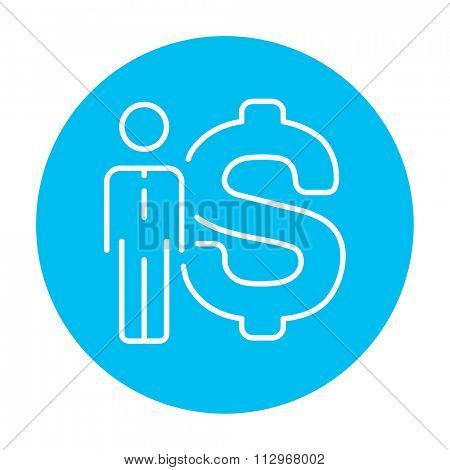 Businessman standing beside the dollar symbol line icon for web, mobile and infographics. Vector white icon on the light blue circle isolated on white background.