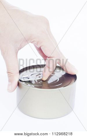 Close-up Can With Hand Isolated On White Background
