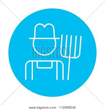 Farmer with pitchfork line icon for web, mobile and infographics. Vector white icon on the light blue circle isolated on white background.
