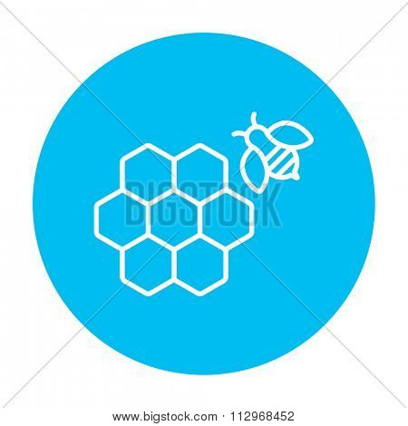 Honeycomb and a bee line icon for web, mobile and infographics. Vector white icon on the light blue circle isolated on white background.