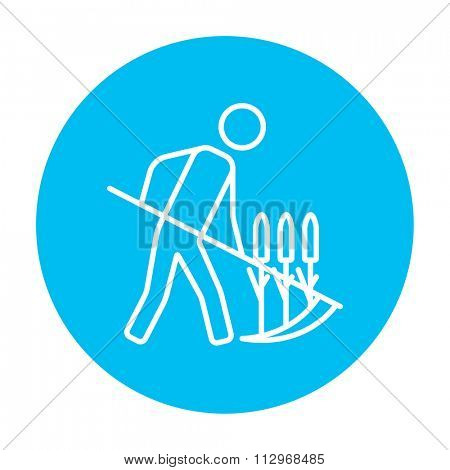 Man mowing grass with a scythe line icon for web, mobile and infographics. Vector white icon on the light blue circle isolated on white background.