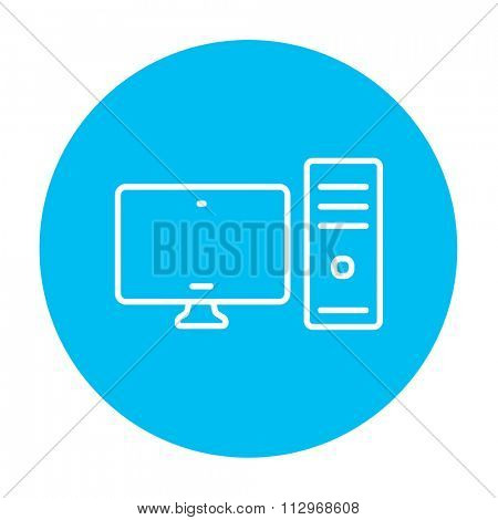 CPU and monitor line icon for web, mobile and infographics. Vector white icon on the light blue circle isolated on white background.