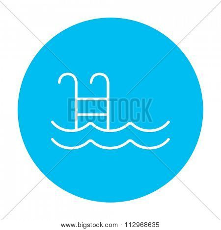 Swimming pool with ladder line icon for web, mobile and infographics. Vector white icon on the light blue circle isolated on white background.