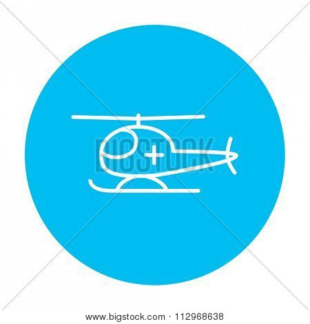Air ambulance line icon for web, mobile and infographics. Vector white icon on the light blue circle isolated on white background.