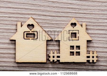 Couple Of Little Wooden Houses (1 In Focus)