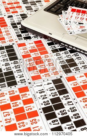 Bingo cards on a laptop