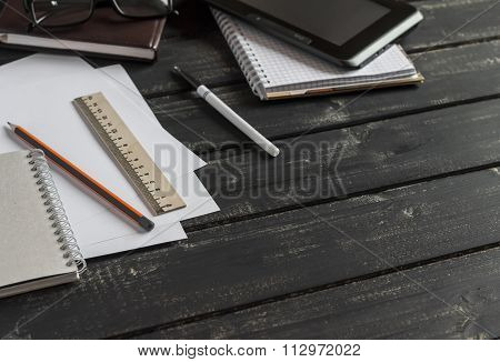 Office Desk With Business Objects - Open Notebook, Tablet Computer, Glasses,  Ruler,  Pencil,  Pen.