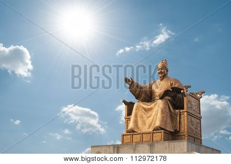 The Statue of King Sejong inn Gwanghwamun Square in Seoul, South Korea. King Sejong who create Korea