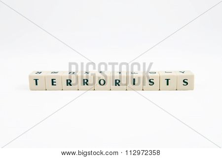 TERRORISTS white cube text on white background
