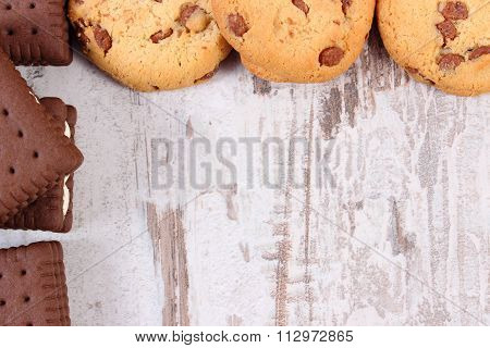 Frame Of Cookies And Biscuit, Copy Space For Text
