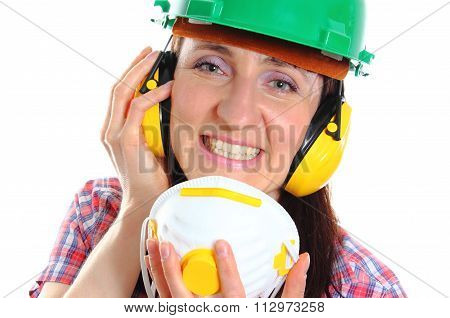 Woman With Protective Mask Wearing Helmet And Headphones