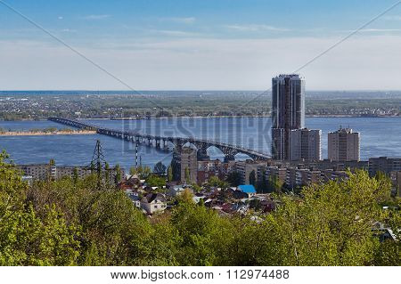 The bridge through Volga in Saratov