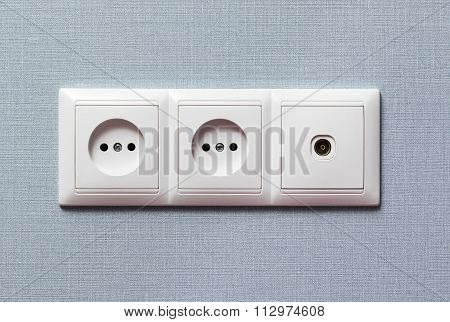 Two electrical and tv outlet