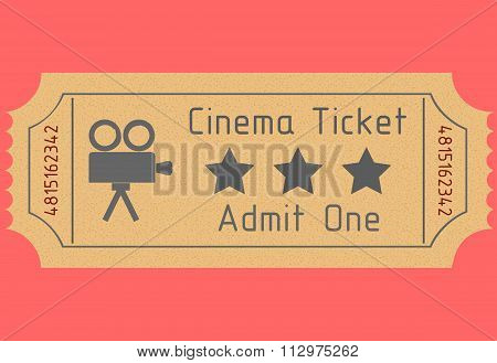 Cinema ticket. Admit one. Vector illustration
