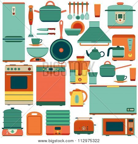 Set of kitchen appliances and accessories in flat style. Oven and saucepan, fridge and teapot, stove