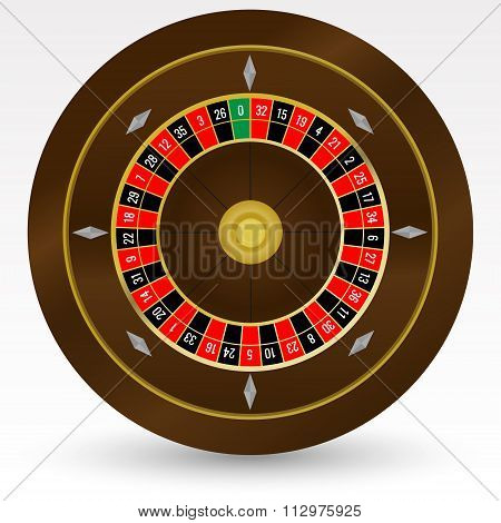 European (french) Casino Roulette Wheel Vector Illustration