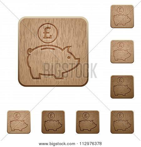 Pound Piggy Bank Wooden Buttons