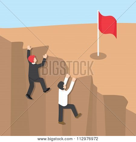 Businessman Climb Up The Cliff To Reaching His Success